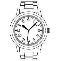 Watch Black and White Clipart