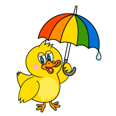Duck with Umbrella Cartoon