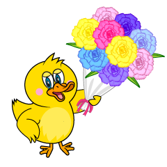 Duck Giving Bouquet Cartoon