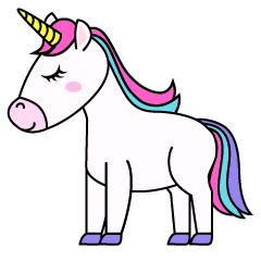 Unicorn with Close Eyes Clipart