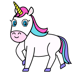 Unicorn Turning Clipart