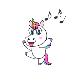 Dancing Unicorn Cartoon