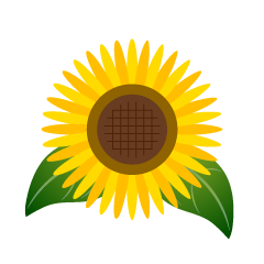 Sunflower Flower and Leaves Clipart