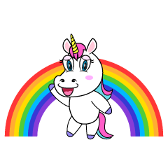 Unicorn and Rainbow Cartoon