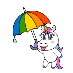 Unicorn with Umbrella Cartoon