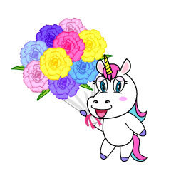 Unicorn Giving Bouquet Cartoon