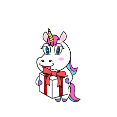 Unicorn Giving Present Cartoon