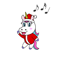 Unicorn enjoying Christmas Cartoon