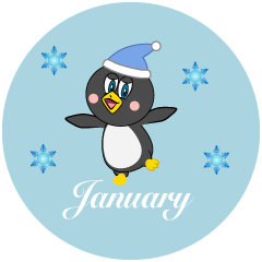 Dancing Penguin January Clipart