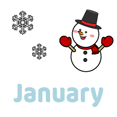 Cute Snowman January Clipart