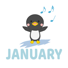 Singing Penguin January Clipart