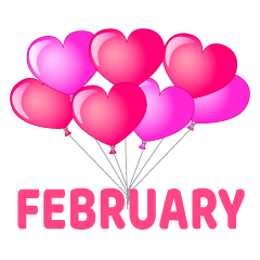 Heart Balloons February Clipart