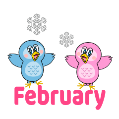 Owl Couple February Clipart