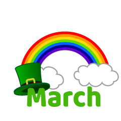Rainbow and Green Hat March Clipart