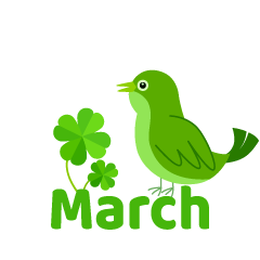 Green Bird March Clipart