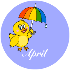 Duck with Umbrella April Clipart