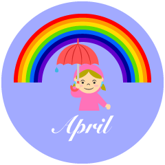 Girl and Rainbow April Clipart