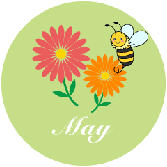 Bee and Flower May Clipart