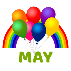 Balloons and Rainbow May Clipart