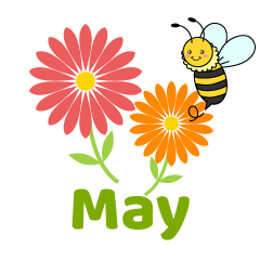 Flowers and Bee May Clipart