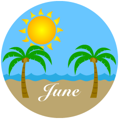 Palm Tree Beach June Clipart
