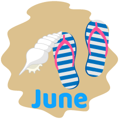 Beach Sandals and Shell June Clipart