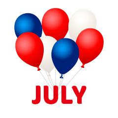 Balloons July Clipart