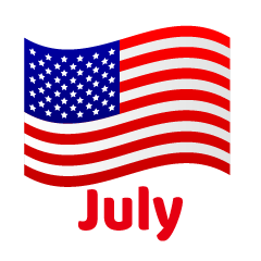 American Flag July Clipart