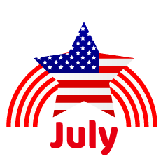 American Star and Rainbow July Clipart