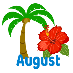 Palm Tree and Hibiscus August Clipart