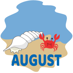 Shell and Crab August Clipart
