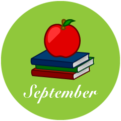 Apple and Books September Clipart