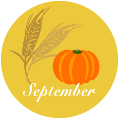Wheat and Pumpkin September Clipart