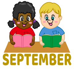 Kids to Study September Clipart