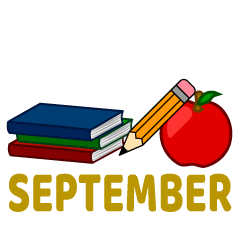 Pencil and Books September Clipart