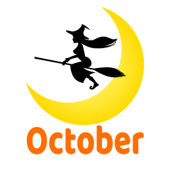 Moon and Witch October Clipart