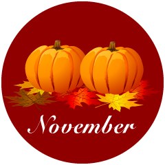 Pumpkin and Fallen Leaves November Clipart