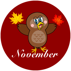 Owl with Autumn Leaves November Clipart