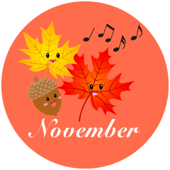 Singing Autumn Leaves November Clipart
