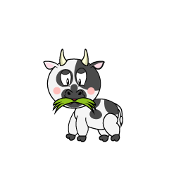 Cow Eating Grass Cartoon