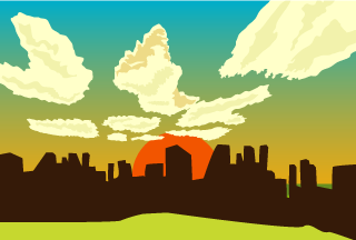 Sunset Building Background
