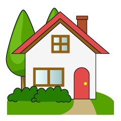 House with Trees Clipart