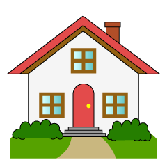 Red Roof House with Garden Clipart