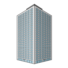 High Building Diagonally Clipart