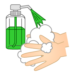 Washing Hands with Disinfectant