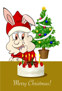 Rabbit character Santa Christmas card