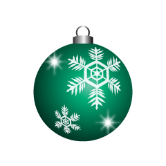 Green Christmas Ornament with Snow