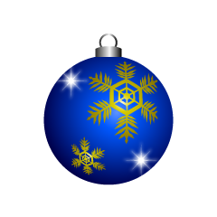 Blue Christmas Ornament with Snow