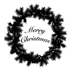 Christmas Wreath Black and White