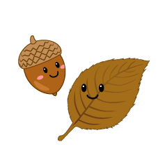 Cute Acorn and Leaf